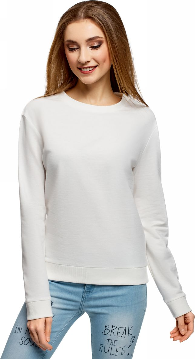 Свитшот женский oodji Ultra, цвет: белый. 14808015B/46151/1200N. Размер S (44)