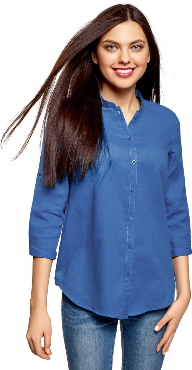 Купить Рубашка женская oodji Collection, цвет: синий. 23L12001B/45608/7500N. Размер 40-170 (46-170)