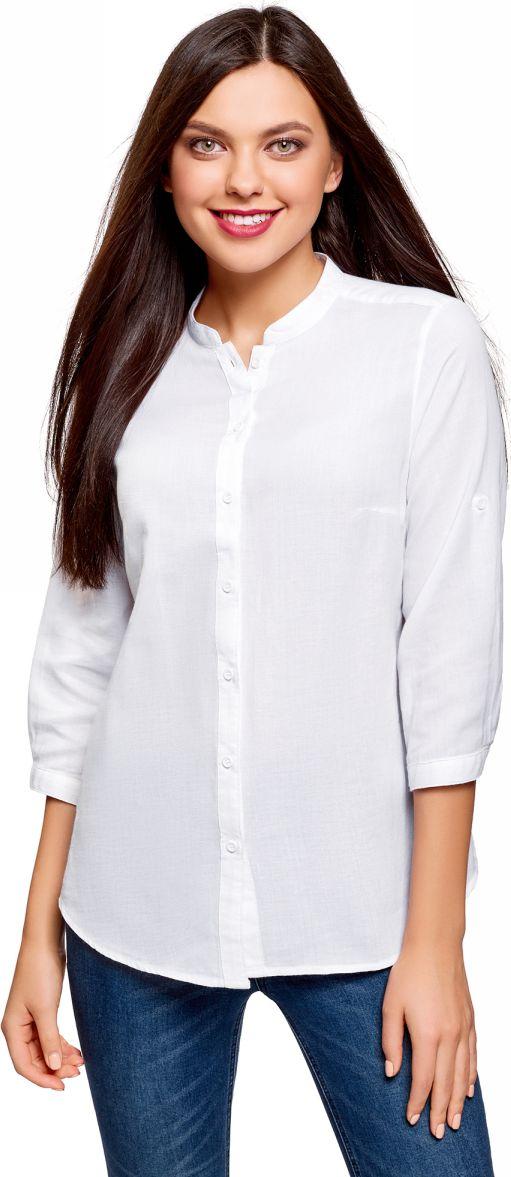 Купить Рубашка женская oodji Collection, цвет: белый. 23L12001B/45608/1000N. Размер 42-170 (48-170)