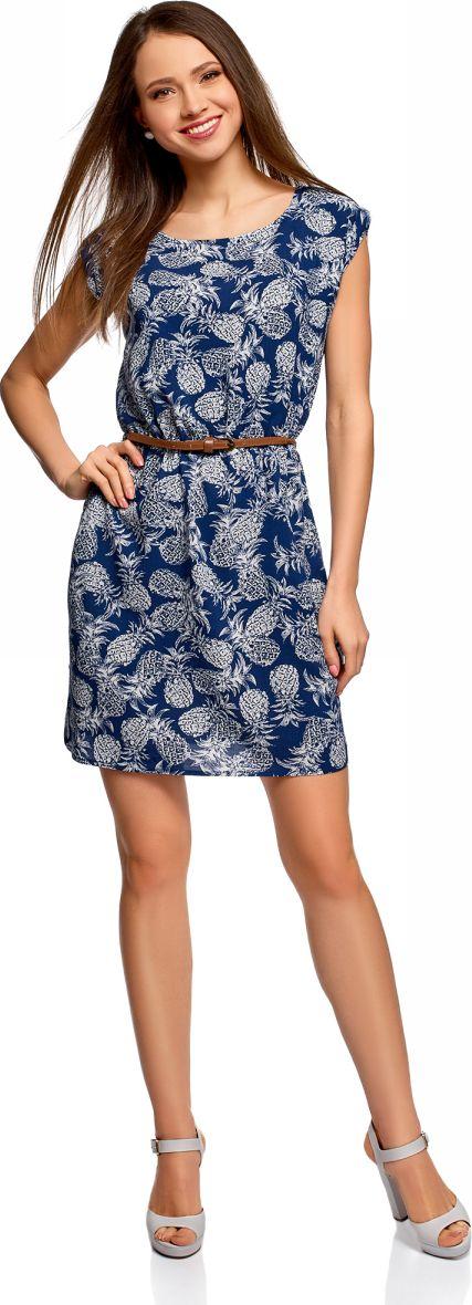 Платье oodji Ultra, цвет: темно-синий, кремовый. 11910073B/26346/7930O. Размер 42-170 (48-170) платье oodji ultra цвет темно синий розовый 11910073b 26346 7941f размер 36 164 42 164