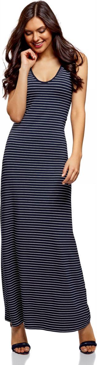 Платье oodji Ultra, цвет: темно-синий, белый, полоска. 14005127-1/42626/7912S. Размер S (44) cottelli платье обтягивающее на бретельках