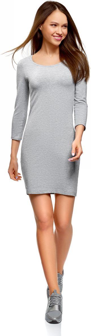 Платье oodji Ultra, цвет: светло-серый меланж. 14001193B/47420/2000M. Размер XL (50) платье oodji ultra цвет сиреневый 14017001 6b 47420 8000n размер xl 50