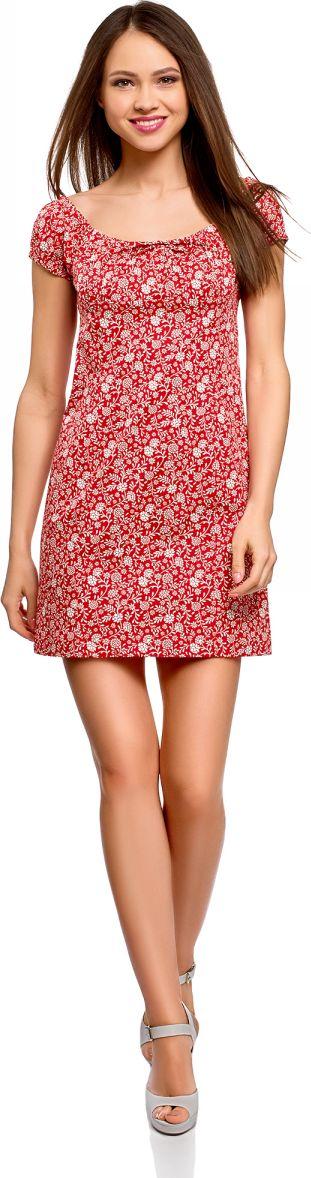 Платье oodji Ultra, цвет: красный, кремовый. 11902047-2B/14885/4530F. Размер 40-170 (46-170)11902047-2B/14885/4530FНежное и романтичное платье с короткими рукавами, застегивается сбоку на скрытую молнию. Глубокий вырез с завязками и присборенный спереди лиф красиво оформляют линию груди. Верхняя часть спины открыта. Короткие рукава-фонарики на резинке придают платью дополнительное очарование. Модель с завышенной талией и рельефными швами облегает фигуру и подчеркивает ее достоинства. Короткое платье уравновешивает пропорции, привлекает внимание к изгибам фигуры и открывает ноги. Легкая хлопковая ткань с небольшим добавлением эластана приятна для тела, дышит, не вызывает аллергии. Благодаря эластану платье тянется и подчеркивает фигуру. В этом платье вам будет комфортно даже в жаркую погоду. Женственное короткое платье прекрасно подойдет для особенных случаев. С ним вы легко сможете создать привлекательный и романтичный образ. В таком платье можно пойти на свидание, прогуляться по городу или по магазинам. Достаточно дополнить его подходящей случаю обувью и сумкой, и у вас готов стильный наряд! К такому платью легко подобрать сабо, босоножки, балетки или сандалии. В прохладную погоду платье можно дополнить кардиганом, жакетом или джинсовой курткой. Легкий и нежный наряд для соблазнительных образов!