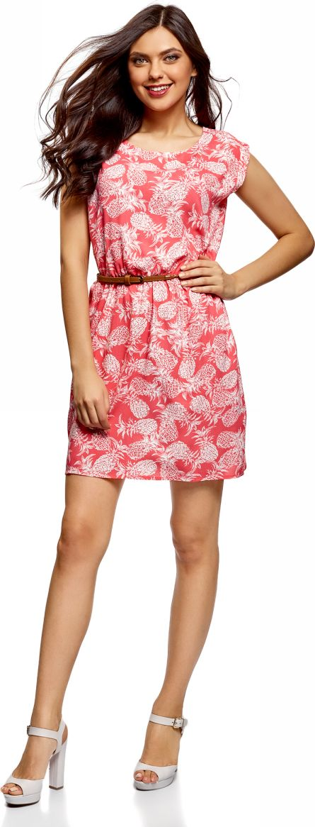 Платье oodji Ultra, цвет: коралловый, кремовый. 11910073B/26346/4330O. Размер 36-170 (42-170)11910073B/26346/4330OПлатье oodji Ultra, выгодно подчеркивающее достоинства фигуры, выполнено из легкой струящейся ткани. Модель мини-длины с круглым вырезом горловины и короткими рукавами дополнена двумя прорезными карманами на юбке.В комплект с платьемвходит узкий ремень из искусственной кожи с металлической пряжкой.