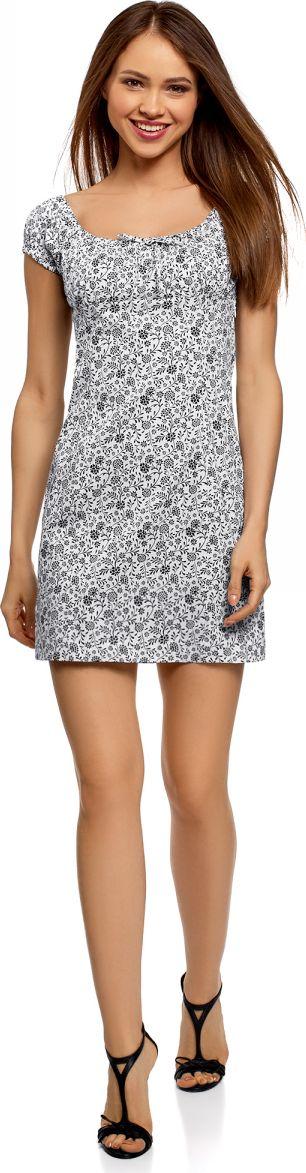 Купить Платье oodji Ultra, цвет: белый, черный, цветы. 11902047-2B/14885/1029F. Размер 40-170 (46-170)