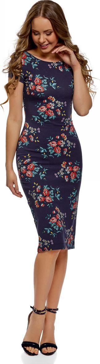 Платье oodji Collection, цвет: темно-синий, темно-оранжевый. 24001104-5/47420/7959F. Размер XS (42) платье oodji collection цвет черный белый 24001104 1 35477 1079s размер l 48