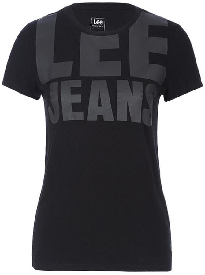 Футболка женская Lee, цвет: черный. L41JRR01. Размер XS (40) футболка женская lee цвет белый черный l41erweh размер xs 40
