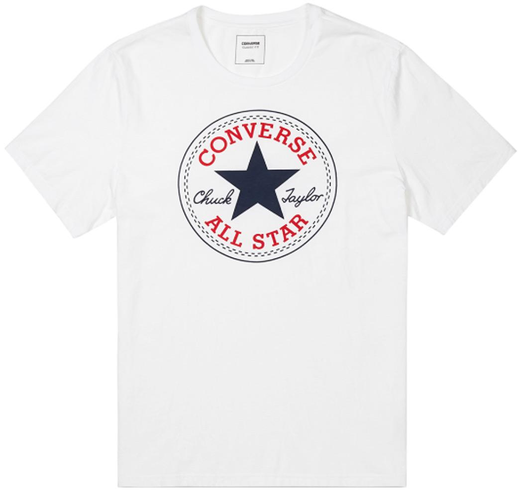 Футболка мужская Converse Core Chuck Patch Tee, цвет: белый. 10002848102. Размер XS (44) футболка converse футболка awt drums sketchbook sig vneck tee