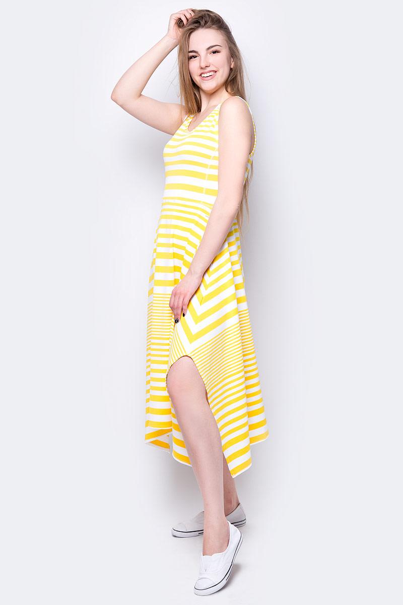 Платье Luhta, цвет: желтый. 939272432LV_410. Размер S (44)939272432LV_410Платье от Luhta выполнено из эластичного полиэстера. Модель с круглым вырезом горловины и асимметричным подолом не имеет рукавов.