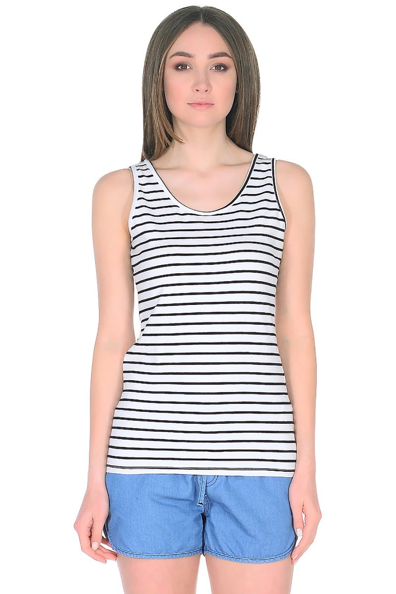 Майка женская Baon, цвет: белый, темно-синий. B258205_White Striped. Размер XL (50)
