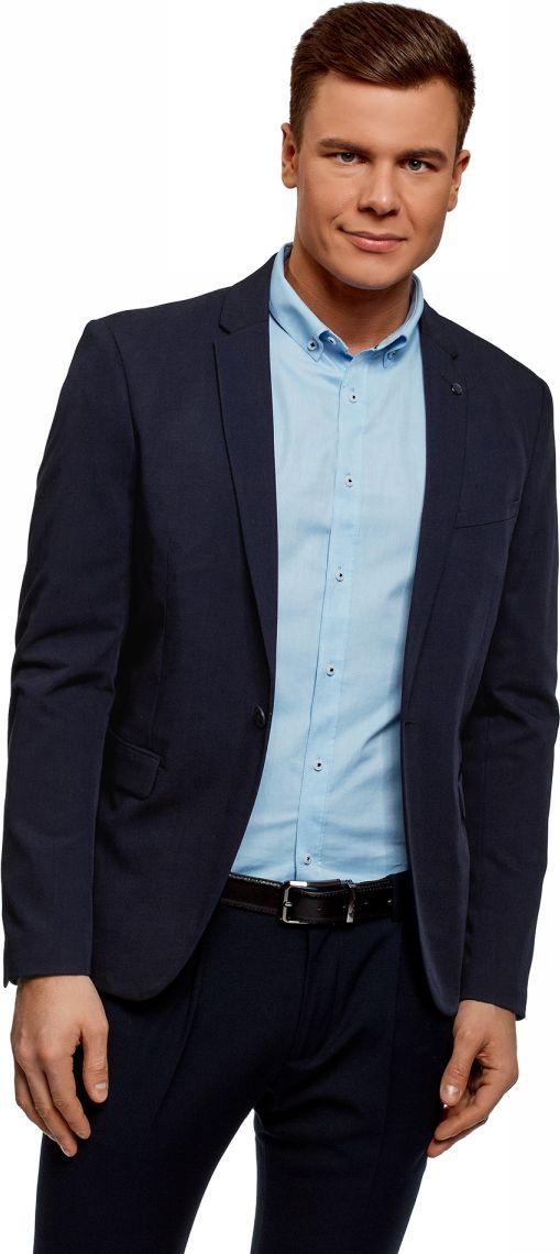 Пиджак мужской oodji Basic, цвет: темно-синий. 2B410021M/47747N/7901N. Размер 56-182 (56-182) пиджаки oodji пиджак