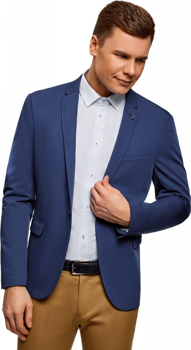 Пиджак мужской oodji Basic, цвет: синий. 2B410021M/47747N/7500N. Размер 48-182 (48-182)2B410021M/47747N/7500NПиджак от oodji выполнен из высококачественного костюмного материала. Модель с длинными рукавами и лацканами застегивается на пуговицу, по бокам дополнена карманами с клапанами.