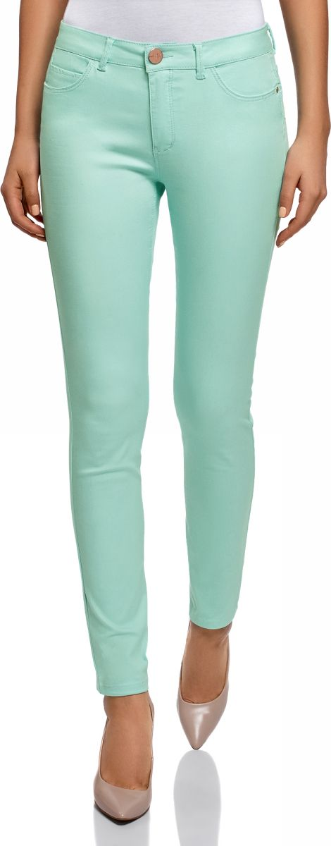 Джинсы женские oodji Ultra, цвет: бирюзовый джинс. 12104059B/45491/7300W. Размер 25-32 (40-32)