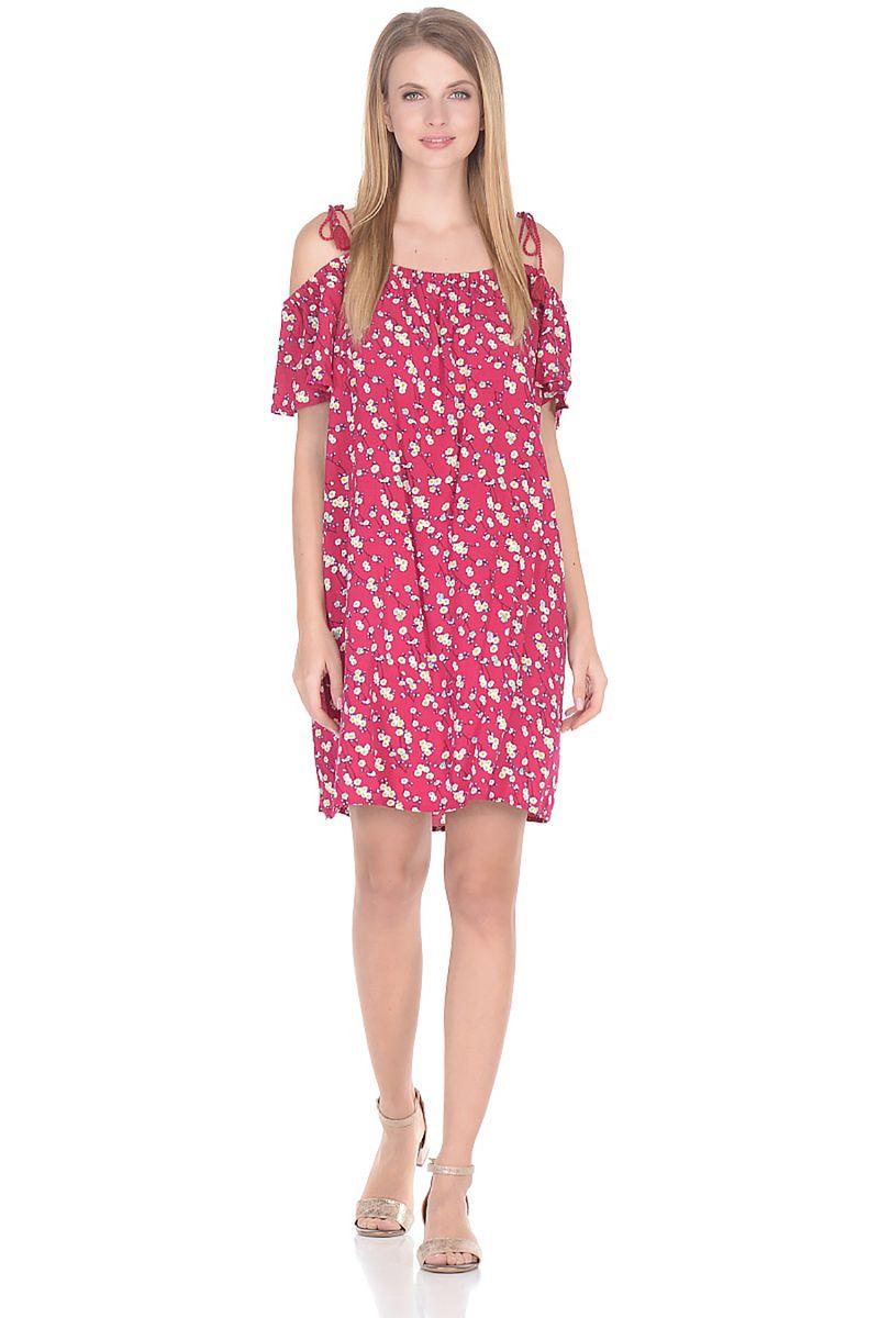 Платье Baon, цвет: розовый. B458074_Dark Teaberry Printed. Размер L (48) baon хлопковая майка на тонких бретелях арт baon b256203 зеленый