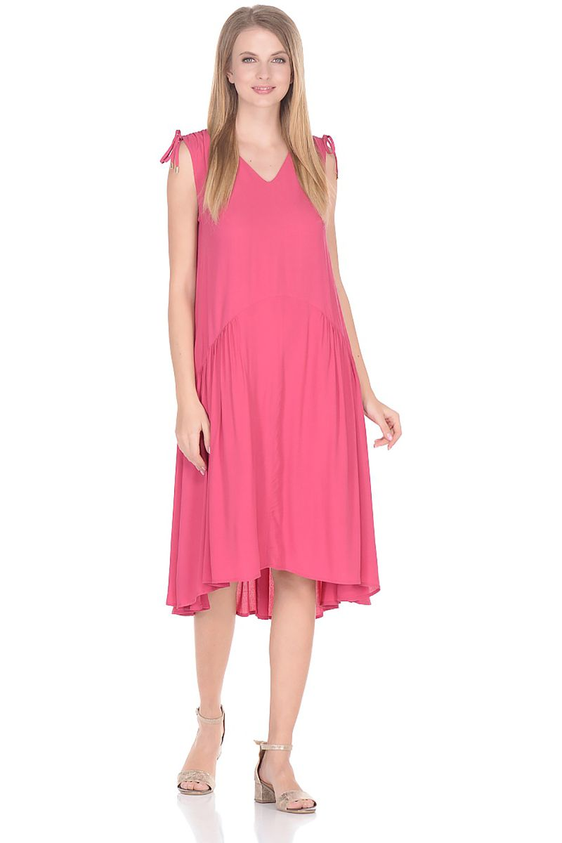 Платье Baon, цвет: розовый. B458075_Dark Teaberry. Размер S (44)B458075_Dark TeaberryПлатье-миди от Baon выполнено из 100% вискозы. Модель свободного кроя без рукавов и с V-образным вырезом горловины по бокам дополнена втачными карманами.