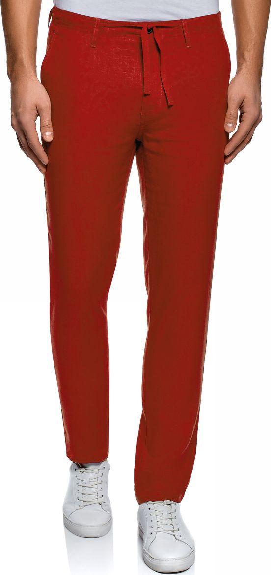 Брюки мужские oodji Basic, цвет: ягодный. 2B200018M/44233N/4C00N. Размер 48-182 (56-182) брюки из лиоцелла и льна