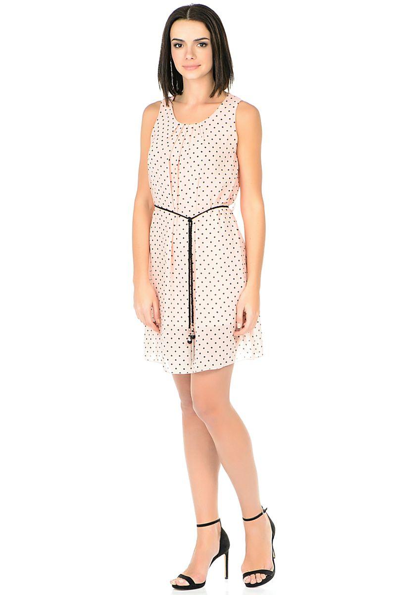 Платье Baon, цвет: розовый. B458122_Valerian. Размер XL (50)B458122_ValerianПлатье от Baon выполнено из легкого материала. Модель без рукавов и с круглым вырезом горловины на талии дополнена тонким пояском, на спинке декорирована вырезом.