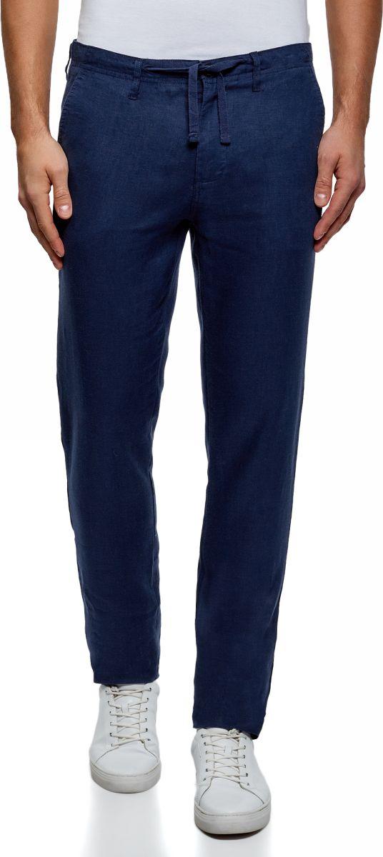 Брюки мужские oodji Basic, цвет: индиго. 2B200018M/44233N/7800N. Размер 44-182 (52-182) брюки из лиоцелла и льна