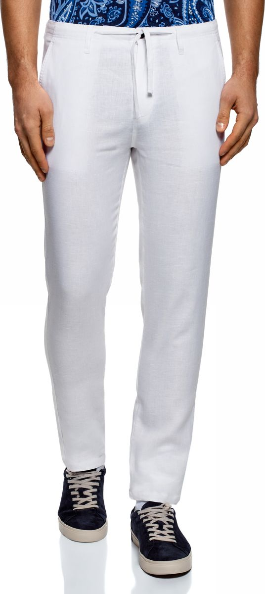Брюки мужские oodji Basic, цвет: белый. 2B200018M/44233N/1000N. Размер 48-182 (56-182) брюки из лиоцелла и льна