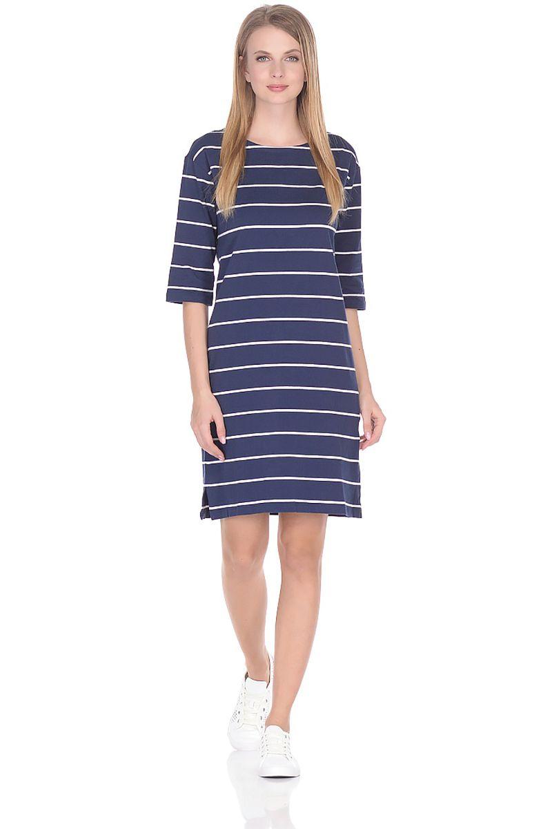 Платье Baon, цвет: синий. B458046_Dark Navy Striped. Размер L (48) striped longline tshirt