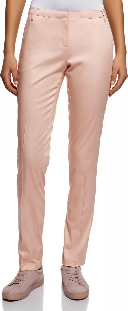 Брюки женские oodji Ultra, цвет: светло-розовый. 11704017B/14522/4001N. Размер 34-170 (40-170) брюки женские oodji ultra цвет ярко розовый черный 11707090 19887 4d29b размер 40 170 46 170