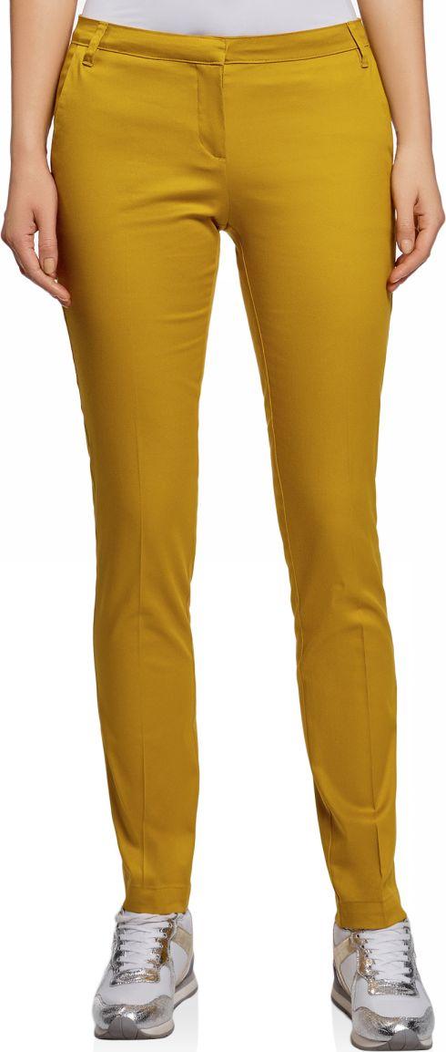 Брюки женские oodji Ultra, цвет: горчичный. 11704017B/14522/5701N. Размер 34-170 (40-170) брюки женские oodji ultra цвет ярко розовый черный 11707090 19887 4d29b размер 40 170 46 170