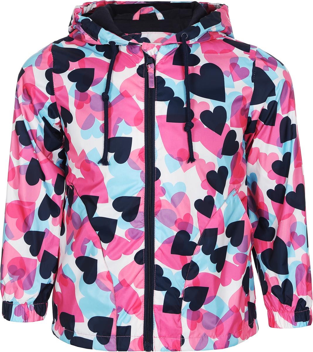 Куртка для девочки Sela, цвет: белый, розовый, голубой. CWB-526/658-8263. Размер 98, 3 годаCWB-526/658-8263Яркая куртка для девочки от Sela изготовлена из полиэстера с подкладкой из мягкого хлопка. Куртка застегивается на пластиковую застежку-молнию. У модели предусмотрены два втачных кармана. Капюшон оснащен затягивающимся шнурком со стопперами. Манжеты рукавов дополнены вшитыми резинками. Изделие оформлено принтом в виде разноцветных сердечек.