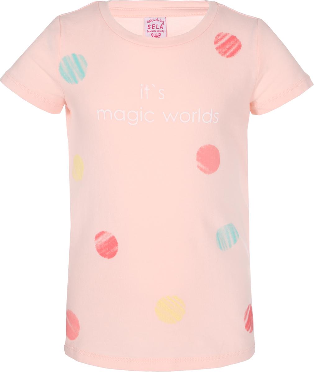 Футболка для девочки Sela, цвет: розовый. Ts-511/486-8213. Размер 116, 6 лет футболка для девочки sela цвет молочный белый ts 511 476 8122 размер 116 6 лет