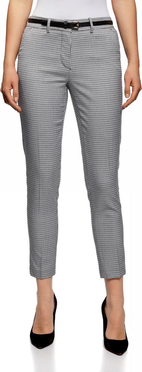Купить Брюки женские oodji Collection, цвет: белый, черный. 21706021-7/46284/1229C. Размер 40-170 (46-170)