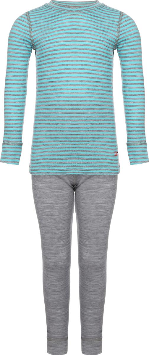 Комплект термобелья детский Dr. Wool: лонгслив, брюки, цвет: серый. DWKL 30102. Размер 116/122DWKL 30102Комплект термобелья Dr. Wool, состоящий из лонгслива и брюк незаменим в холодную погоду. Для еще большего комфорта резинка, манжеты и швы сделаны мягкими, поэтому не вызывают раздражения кожи. Изделие облегает, поэтому его можно носить в качестве первого слоя. Переохлаждение и перегрев вас не побеспокоят благодаря воздушной структуре волокна. Среди качеств волокон полотна отмечается гигроскопичность.