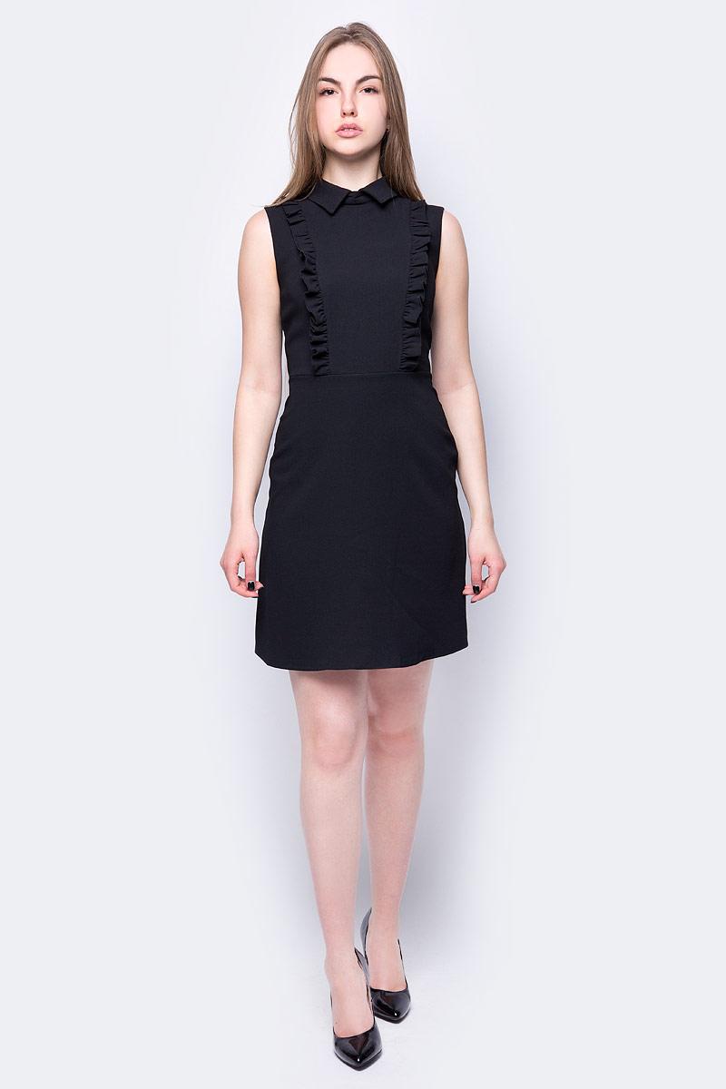 Платье adL, цвет: черный. 12432138001_001. Размер S (42/44)12432138001_001Платье от adL выполнено из полиэстера. Модель приталенного кроя без рукавов и отложным воротником на спине застегивается на потайную молнию, спереди декорирована рюшами.