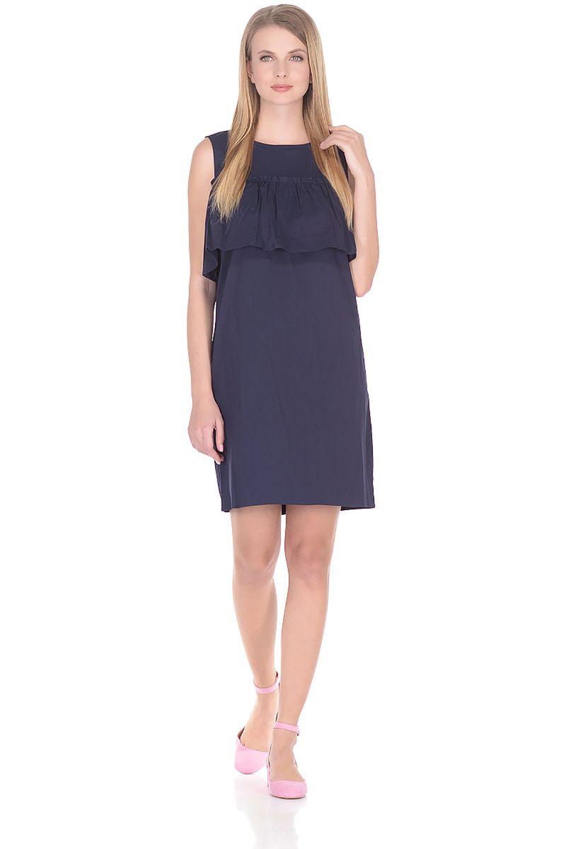 Платье Baon, цвет: синий. B458064_Dark Navy. Размер L (48)B458064_Dark NavyПлатье от Baon выполнено из хлопкового материала. Модель без рукавов и с круглым вырезом горловины на спинке застегивается на пуговицы по всей длине, в области груди оформлена широким воланом.