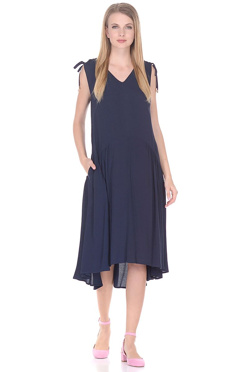 Платье Baon, цвет: синий. B458075_Dark Navy. Размер XL (50)B458075_Dark NavyПлатье-миди от Baon выполнено из 100% вискозы. Модель свободного кроя без рукавов и с V-образным вырезом горловины по бокам дополнена втачными карманами.