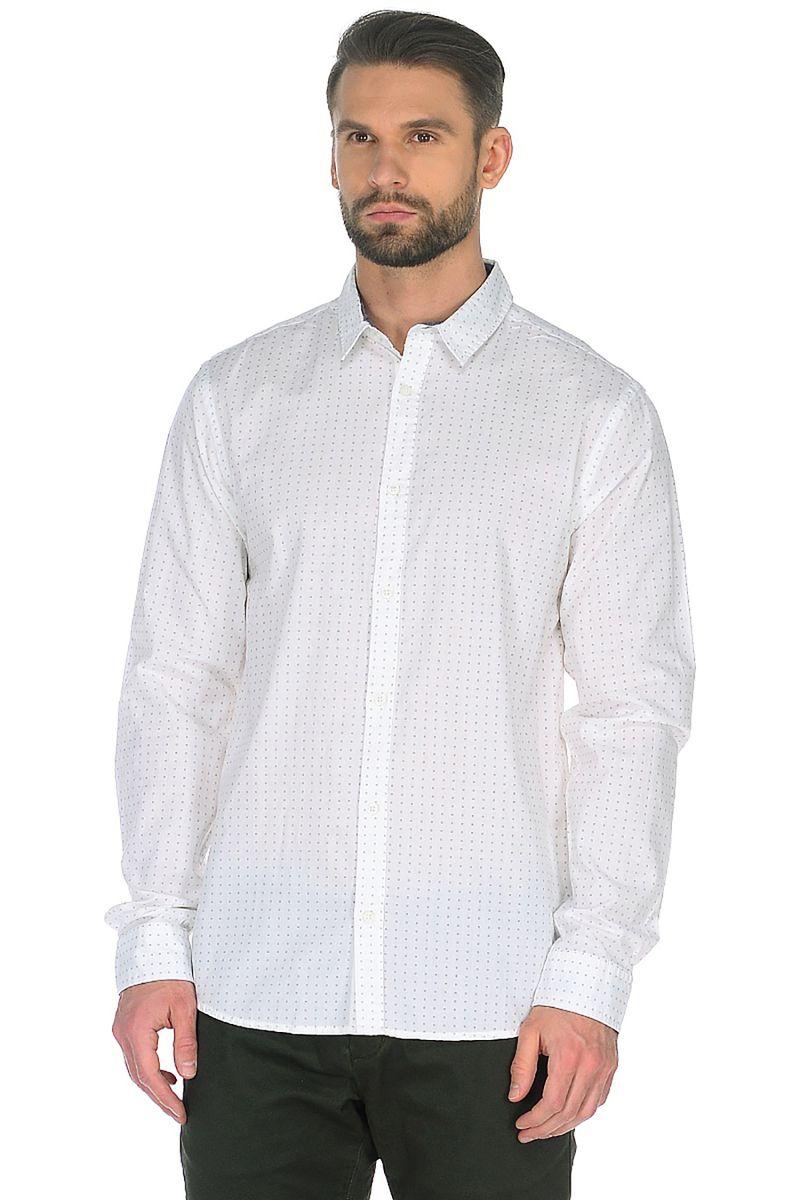 Рубашка мужская Baon, цвет: белый. B668015_White Printed. Размер XXL (44) women s vintage print round neck half sleeve shift dress