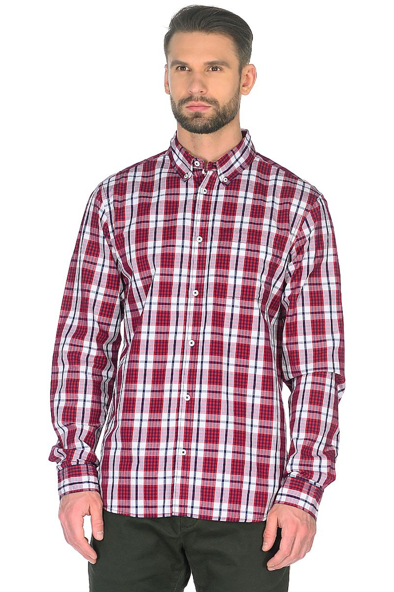 Купить Рубашка мужская Baon, цвет: красный. B668019_Rubin Checked. Размер S (46)