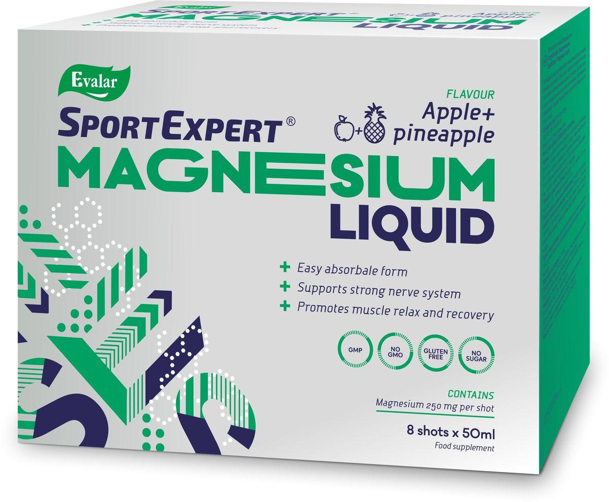 Жидкий магний SportExpert  Magnesium Liquid , яблоко и ананас, 8 флаконов х 50 мл - Витамины, минералы, комплексы