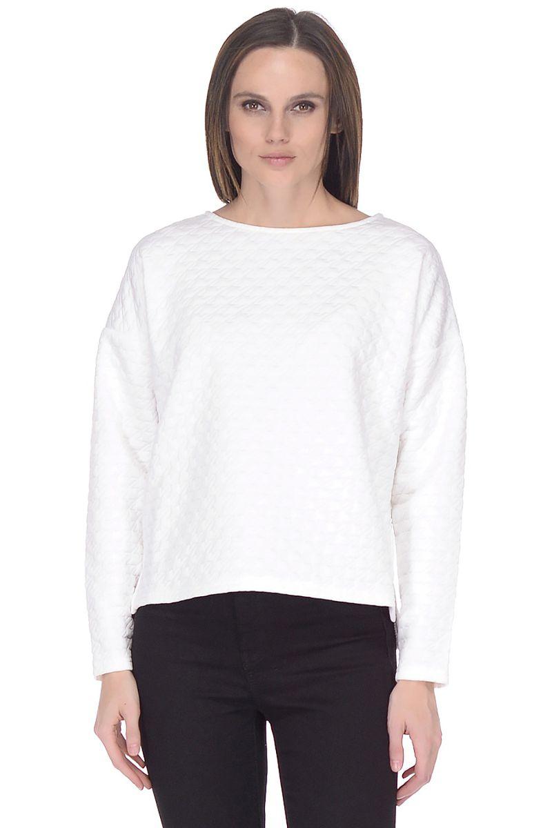 Свитшот женский Baon, цвет: белый. B118009_White. Размер S (44)B118009_WhiteСвишот от Baon выполнен из фактурного материала. Модель с длинными рукавами со спущенным плечом и круглым вырезом горловины.