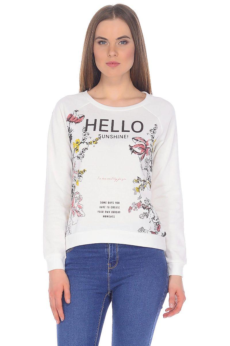 Купить Свитшот женский Baon, цвет: белый. B118010_Milk. Размер S (44)
