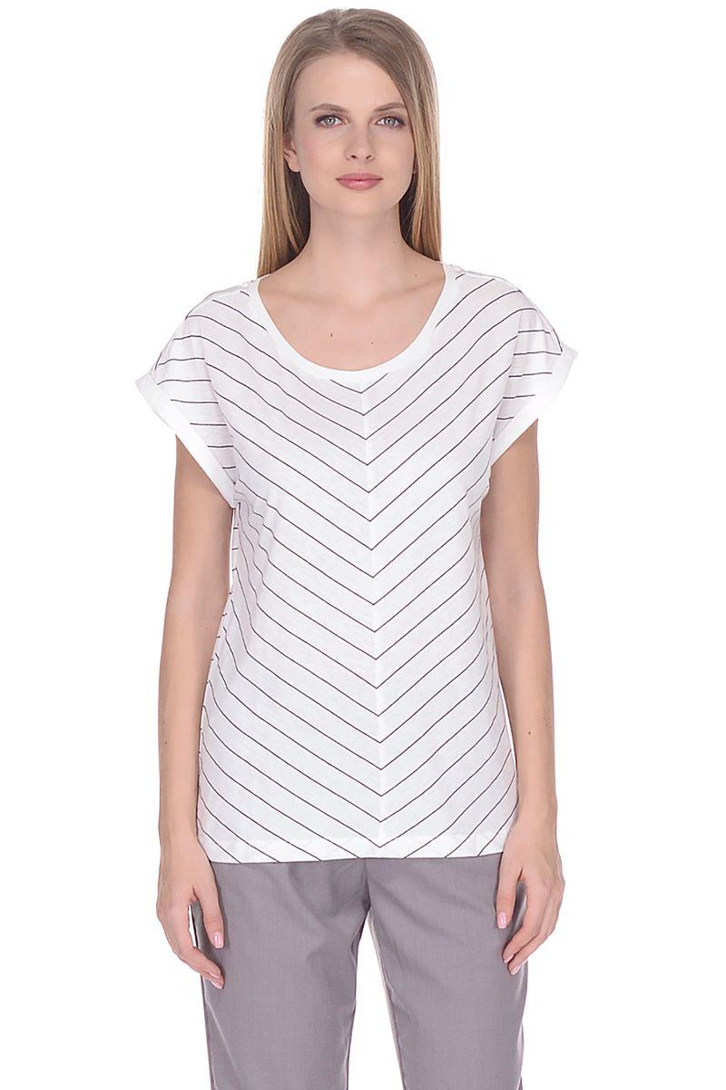 Футболка женская Baon, цвет: белый. B238100_White Striped. Размер XL (50)