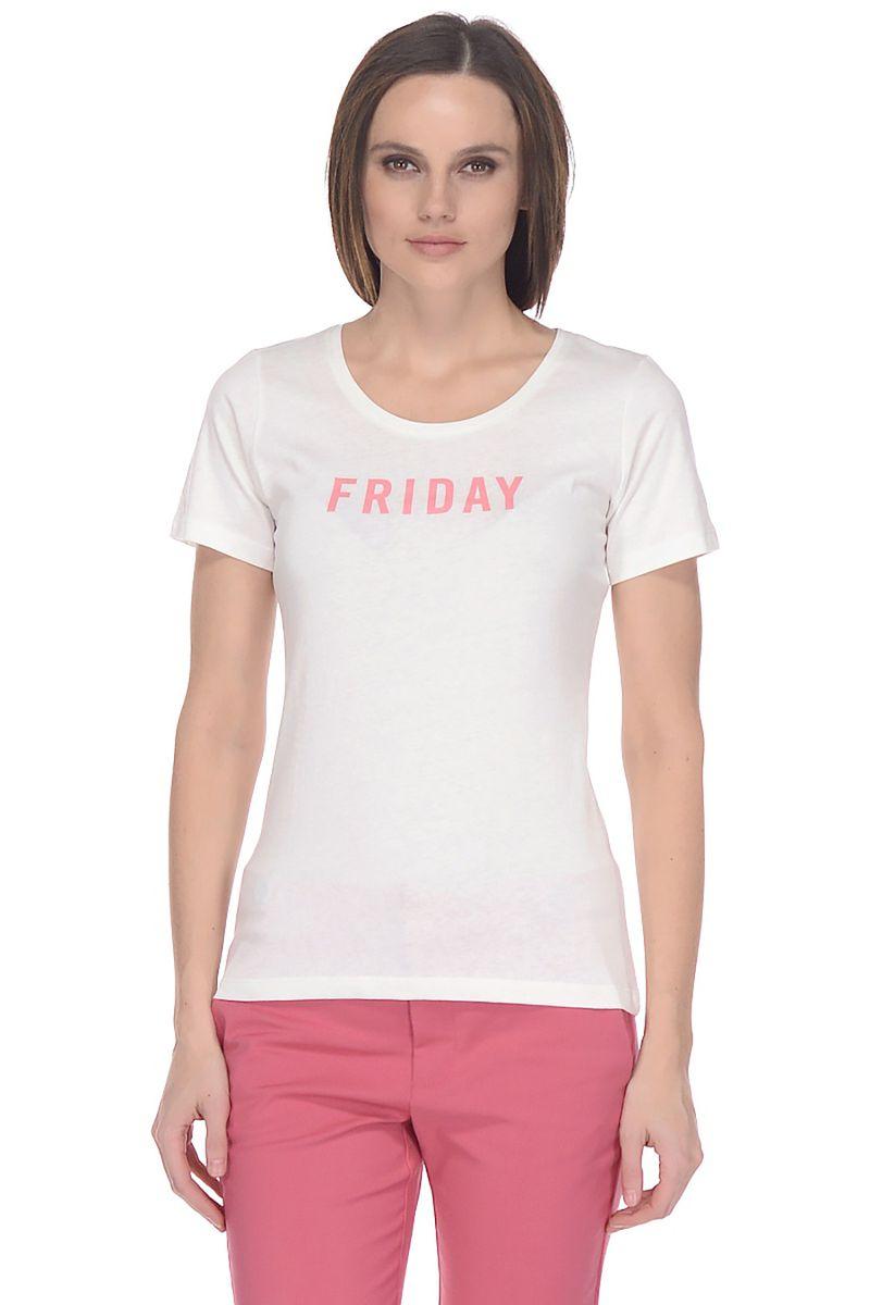 Купить Футболка женская Baon, цвет: белый. B238105_White. Размер M (46)