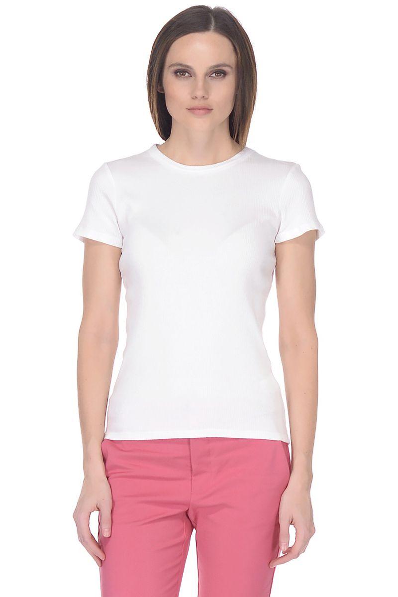 Футболка женская Baon, цвет: белый. B238202_White. Размер XXL (52)B238202_WhiteБазовая футболка от Baon выполнена из эластичного хлопкового трикотажа. Модель с короткими рукавами и круглым вырезом горловины.