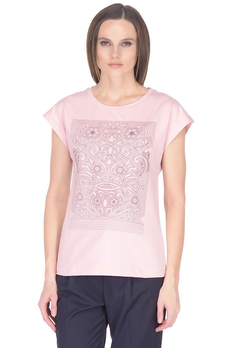 Футболка женская Baon, цвет: розовый. B238045_Snakeweed. Размер XXL (52) доска разделочная круглая с металлической ручкой 30 5х1 6см 790809