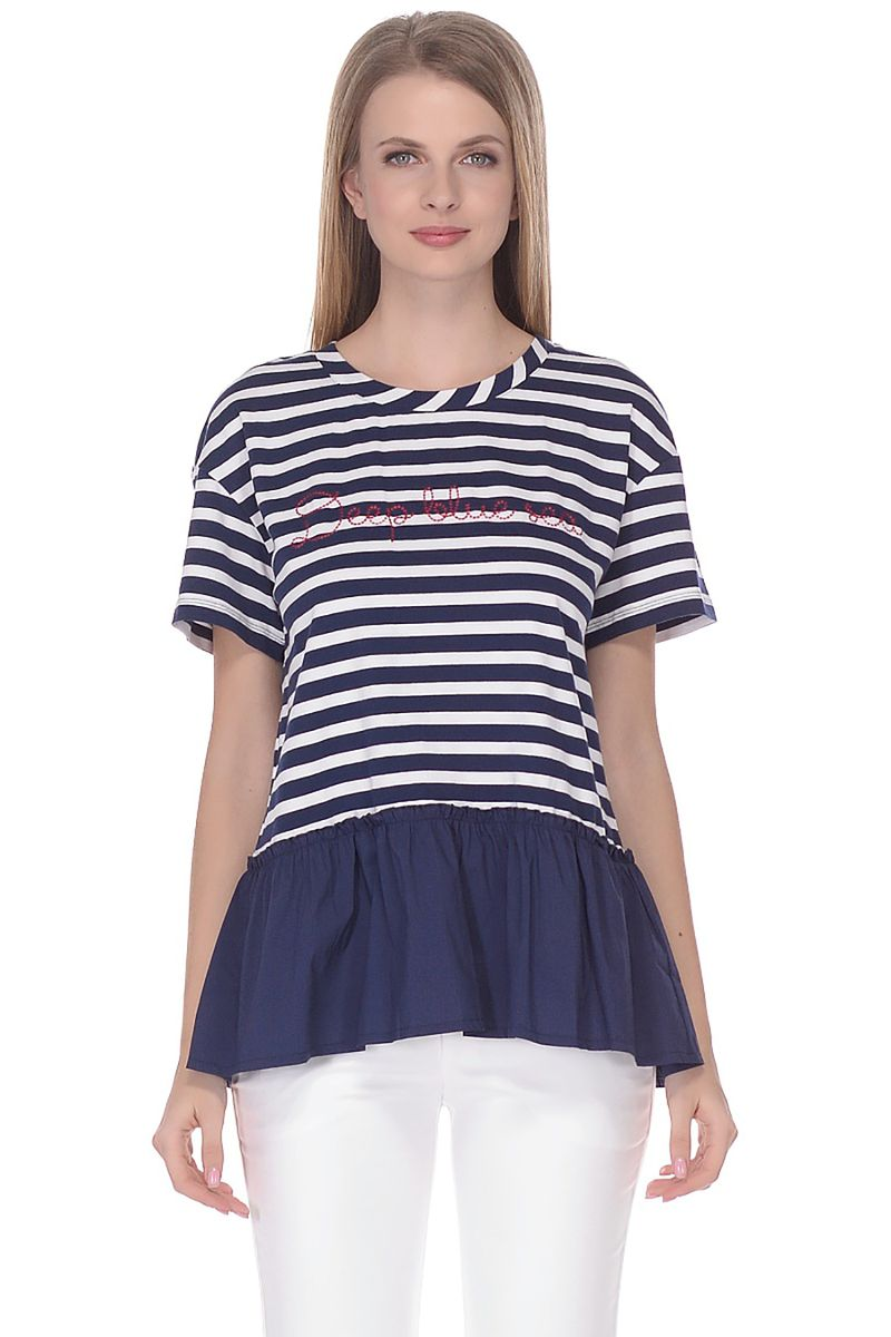 Футболка женская Baon, цвет: синий. B238016_Dark Navy Striped. Размер L (48)