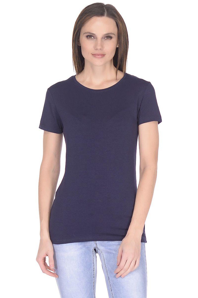 Футболка женская Baon, цвет: синий. B238201_Dark Navy. Размер XXL (52)B238201_Dark NavyБазовая футболка от Baon выполнена из эластичного хлопкового трикотажа. Модель с короткими рукавами и круглым вырезом горловины.