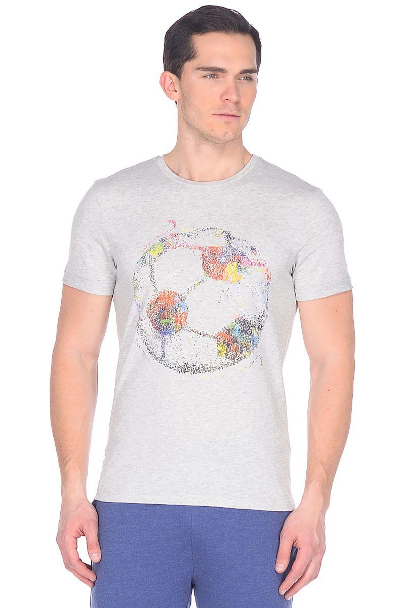 Футболка мужская Baon, цвет: серый. B738039_Silver Melange. Размер XL (52)