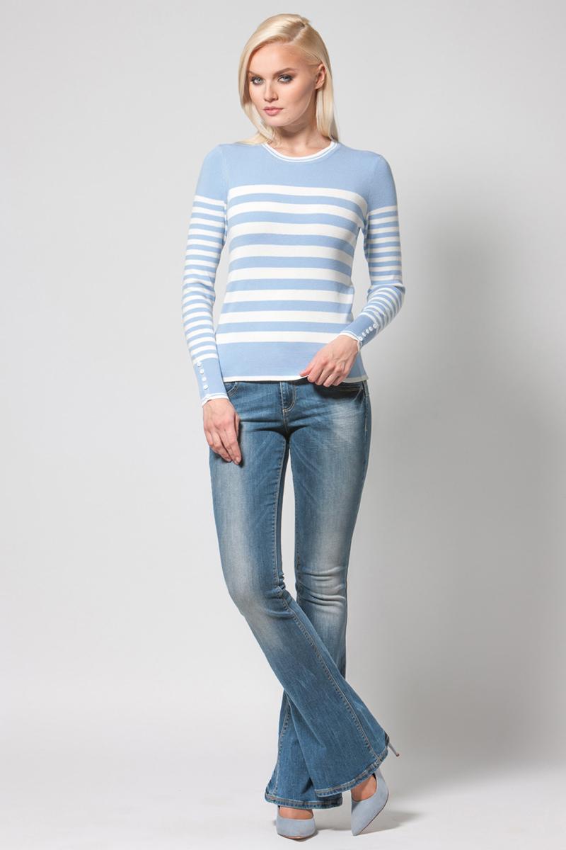 Джемпер женский Conso, цвет: белый, голубой. KWJS180713. Размер 46 (48) платье conso wear conso wear co050ewwxj38