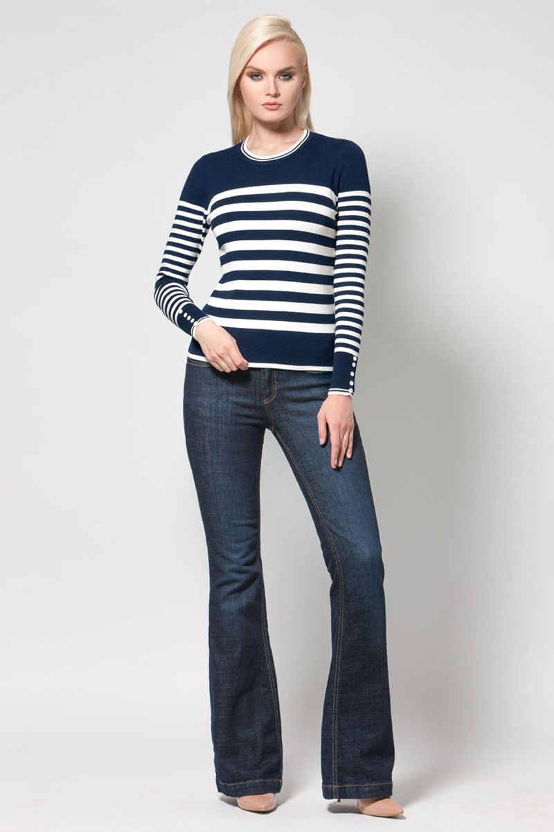 Джемпер женский Conso, цвет: белый, синий. KWJS180713. Размер 46 (48) платье conso wear conso wear co050ewwxj38