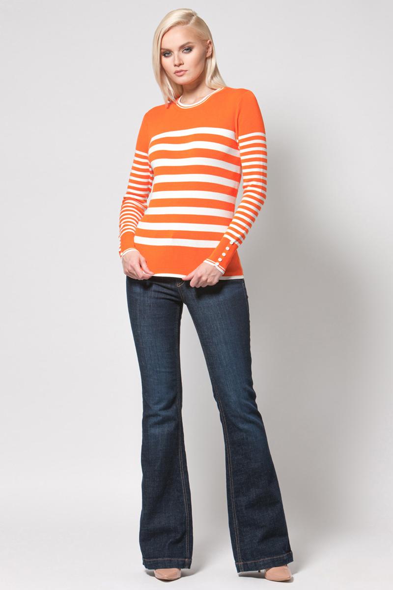 Джемпер женский Conso, цвет: белый, оранжевый. KWJS180713. Размер 46 (48) платье conso wear conso wear co050ewwxj38