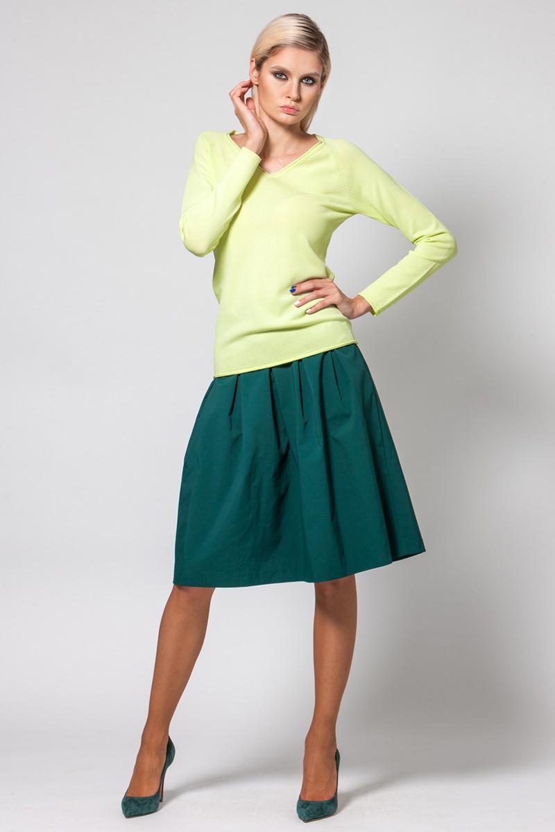 Джемпер женский Conso, цвет: желтый. KWJS180721. Размер 46 (48) пуловер из плотного трикотажа с v образным вырезом