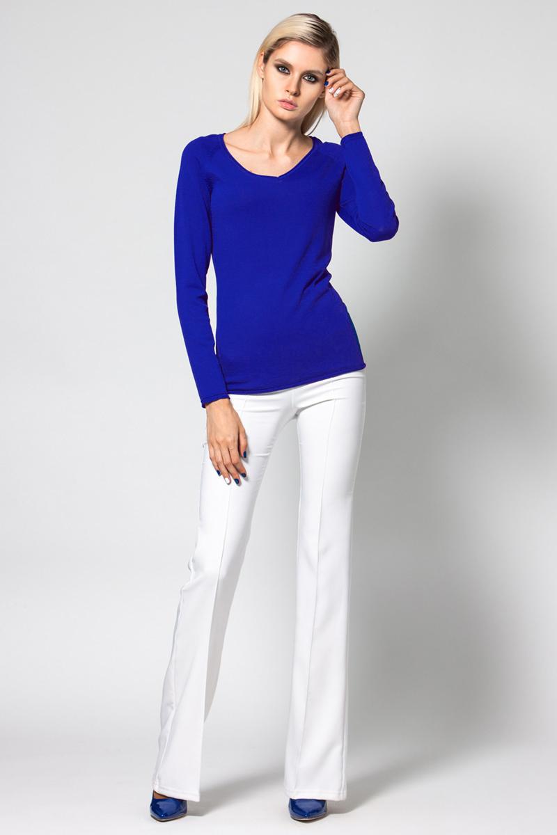 Джемпер женский Conso, цвет: синий. KWJS180721. Размер 46 (48) пуловер из плотного трикотажа с v образным вырезом